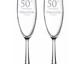 Engraved 50th Wedding Anniversary Champagne Toasting Flutes Set