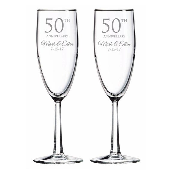 Engraved 50th Wedding Anniversary Champagne Toasting Flutes