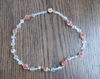 Vintage Crystal Art Glass Bead Single Strand Necklace Free Shipping