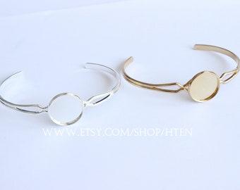 5pcs 16mm Adjustable Brass Bracelet Setting Base, Bracelet Supply, Blank Bracelet Cuff,Bezel Cuff,Bezel Bracelet Bangle