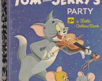 ON SALE M G M's Tom and Jerry's Party  - Vintage Little Golden Book - Australian  Edition - 1970s