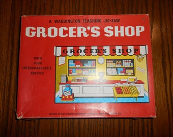 Vintage Retro 1968 by Waddington Teaching Puzzle Jig-Saw Jigsaw Grocer's Shop