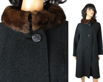 Mink Collar Coat L Vintage 60s Brown Fur Black Wool Boucle Long Winter Jacket Free US Shipping