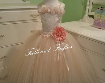 Ivory and Beige Corset Fairy Dress / Flower Girl Dress / Festival Clothing / Prom Dress / Girls Dresses / Fairy Dress / Princess Dress/Fairy