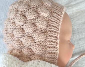 Baby Bonnet Knitting Pattern, Knit Bonnet Pattern, Baby Hat Pattern, Instant Download PDF Pattern, Knit Baby Bonnet Pattern, Bubble Bonnet