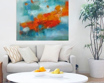 Turquoise Orange modern abstract 24x24 original, Modern Loft wall art, contemporary minimalist canvas,XL art print,Extra large giclee canvas
