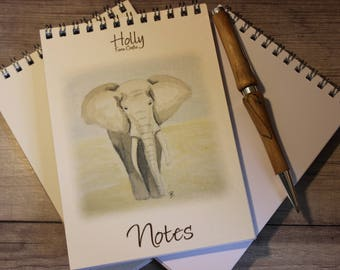 Elephant notepad - handy A6 notepad with an watercolour painting print - perfect for handbags, desktops, shopping lists..