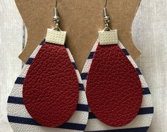 Navy and white stripe leather with red leather layered earring | gifts for her | tiered leather earrings