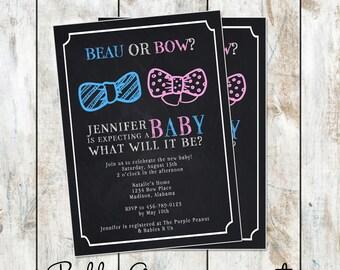 Chalkboard Beau or Bow Style Gender Reveal Invitations - Chalkboard Baby Shower Invitation - Chalkboard Gender Reveal Invitation - Printable