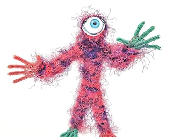 Red Blend Cyclops - Bendable Copper Wire Creature - fun, unique, fully poseable! Hand-made out of recycled & repurposed materials.