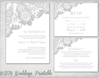 Lace wedding invitation template silver gray on white lace wedding invitation template silver gray antique lace printable wedding invitations rsvp response stopboris Gallery