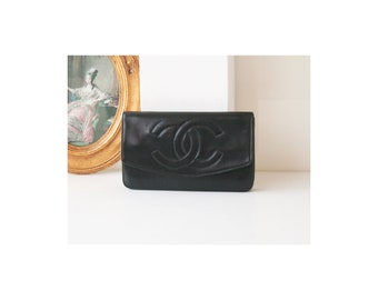Auth Chanel Black Leather clutch wallet