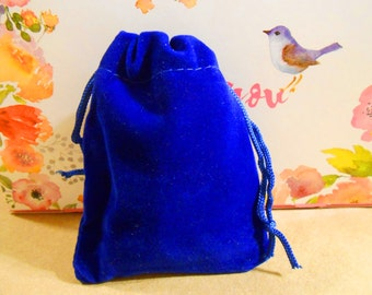 5 Blue velvet bags Drawstring bags Fabric bags Jewelry bags Blue Favor bags Jewelry pouches Jewelry storage Cobalt blue Gift bags Cloth bags
