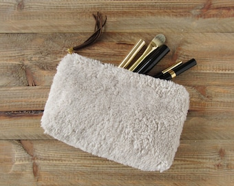 cosmetic pouch made of faux fur makeup bag faux shearling with brown mini tassel made of leather small travel accessories handmade gift idea