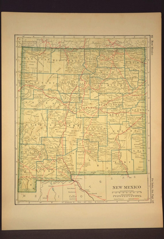 New mexico map new mexico antique railroad original yellow gumiabroncs Choice Image