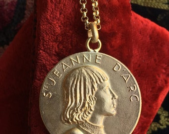 St Joan of Arc Medal Necklace 18K Gold Plated Religious Vintage Catholic Jewelry Gift Hallmarked Christian Jewelry First Communion