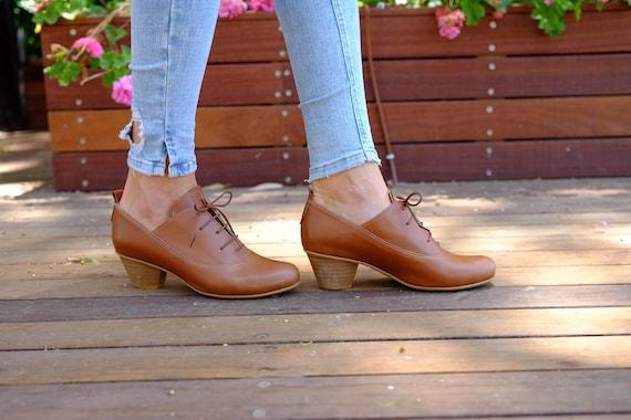 Leather High Free Low heel Low Pumps Leather Handmade Shipping Shanti's Heel Heel Brown Heel shoes Shoes dress Heels Shoes OXB8xqxTw