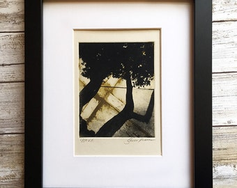 Contemporary Art Print - Original Etching - Abstract Tree Sihlouette