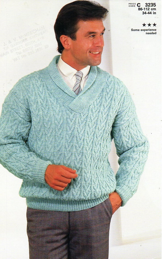 Mens Cable Sweater Knitting Pattern Pdf Dk Cable Shawl Collar