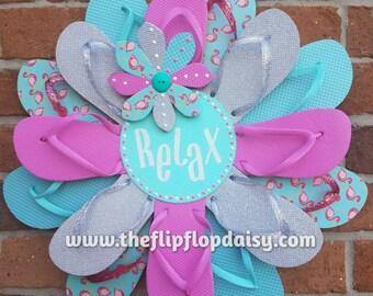 Adorable RELAX Flip Flop Wreath Door Wall Decor Beach Ocean Spring