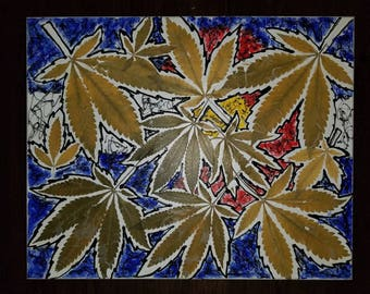 Colorado Cannabis Art | Authentic Leaves on Stretched Canvas