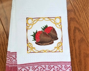 Chocolate Covered Strawberries Embroidered Kitchen Towel