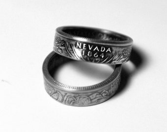 Handcrafted Ring made from a US Quarter - Nevada - Pick your size