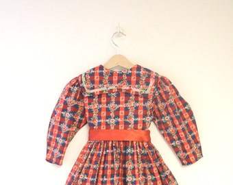 Vintage Girl's Clothes, 1970's Red, Pink, Navy Blue and Green Floral Girl's Dress, Vintage Floral Girl's Dress, Size 4T - 5T