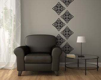 Wall Vinyl Decals Damask - Damask Wall Decal - Vinyl Damask 0046