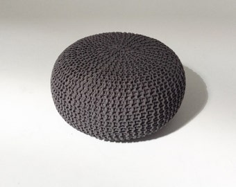 Handmade Knitted Pouf   Charcoal Gray   80x35cm   Hand Knit Pouf Ottoman Footstool