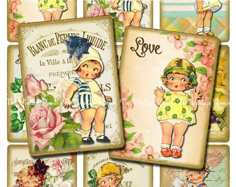 INSTANT DOWNLOAD Printable Digital Collage Sheet, Vintage Girls, Altered Art Tags