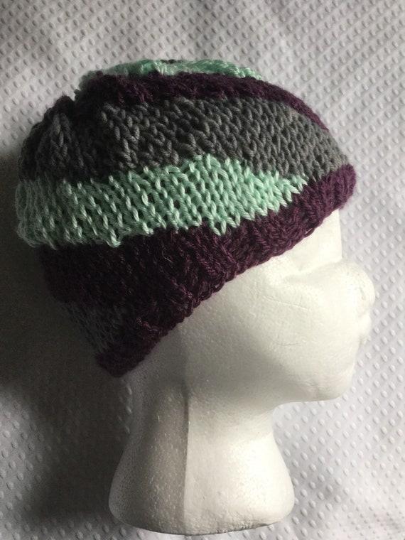 Purple gray and mint green spiral hand knit fair aisle beanie hat
