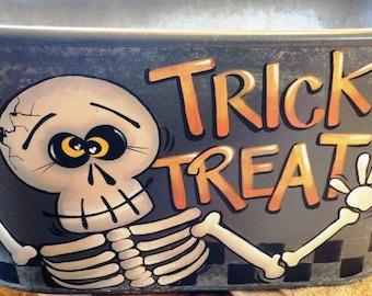 Halloween Skeleton Candy Bucket Decorative Painting Pattern