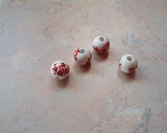Ceramic with red 8mm beads