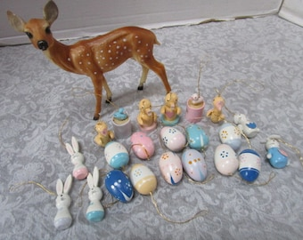 18 Vintage Easter Ornaments Miniature Wooden Easter Eggs Bunnies, Pastels Holiday Decor Trees Package Ties, Diorama Crafting Supply Wreath