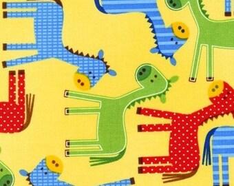 Stoff Patchwork gelb Pferde Urban Zoologie