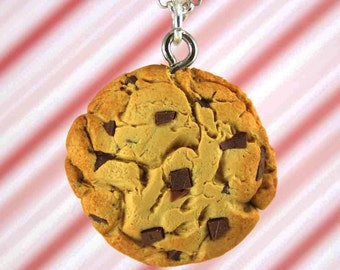 chocolate chip cookie necklace kawaii polymer clay charms miniature food jewelry polymer clay food necklace chocolate cookie jewelry charm