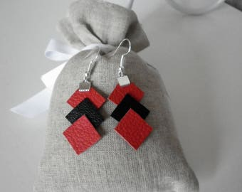 stacked leather, red and black diamond earrings