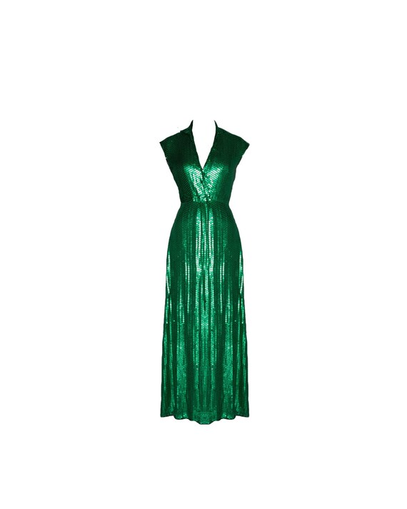 Vintage Halston Emerald Green Collared Sequin Evening Gown