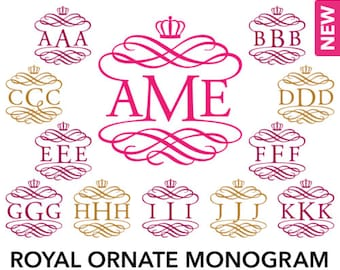 Royal Ornate Monogram Alphabet - SVG, Studio3, EPS, DXF - Personal Vine Interlocking Monogram Font, Cut files for Cutting Machines
