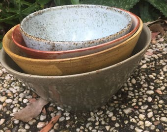 Handmade earthy bowls.  All different glazes made with love and joy.