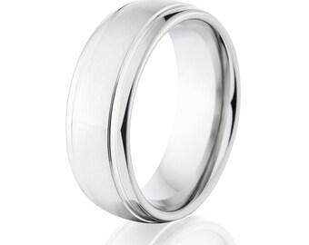 USA Made Rings, Cobalt Band, Cobalt Ring, Cobalt Wedding Band: CB-8HR2SG-BC
