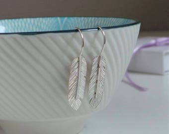 Silver Feather Drop Earrings - Handmade Sterling Silver Dangly Feather Earrings - Boho Earrings - Jewellery Made By Me - Etsy UK