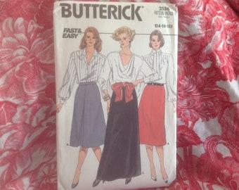 Vintage 1980s Buterick pattern 3596 misses' skirt sizes 14-16-18