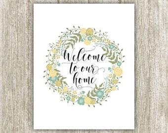 Welcome To Our Home Wall Art, Welcome Home Printable Wreath, Welcome Wall Decor, Welcome Home Print Welcome Poster 8x10 5x7 Instant Download