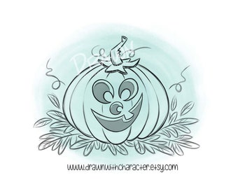 Smiling Pumpkin, Jack-o-lantern, Digital Stamp/ KopyKake Image/ Coloring Book Image- F17-SMILEPUMP