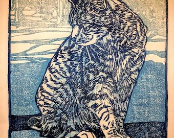 """Blue Cat, hand carved woodblock print, 8""""X10"""""""