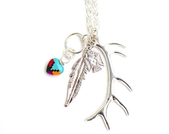 Silver Thunderbird Necklace / Elk Horn Antler / Feather / Heart Inlay / Tribal Huntress Jewelry / Tribal Necklace / Antler Necklace