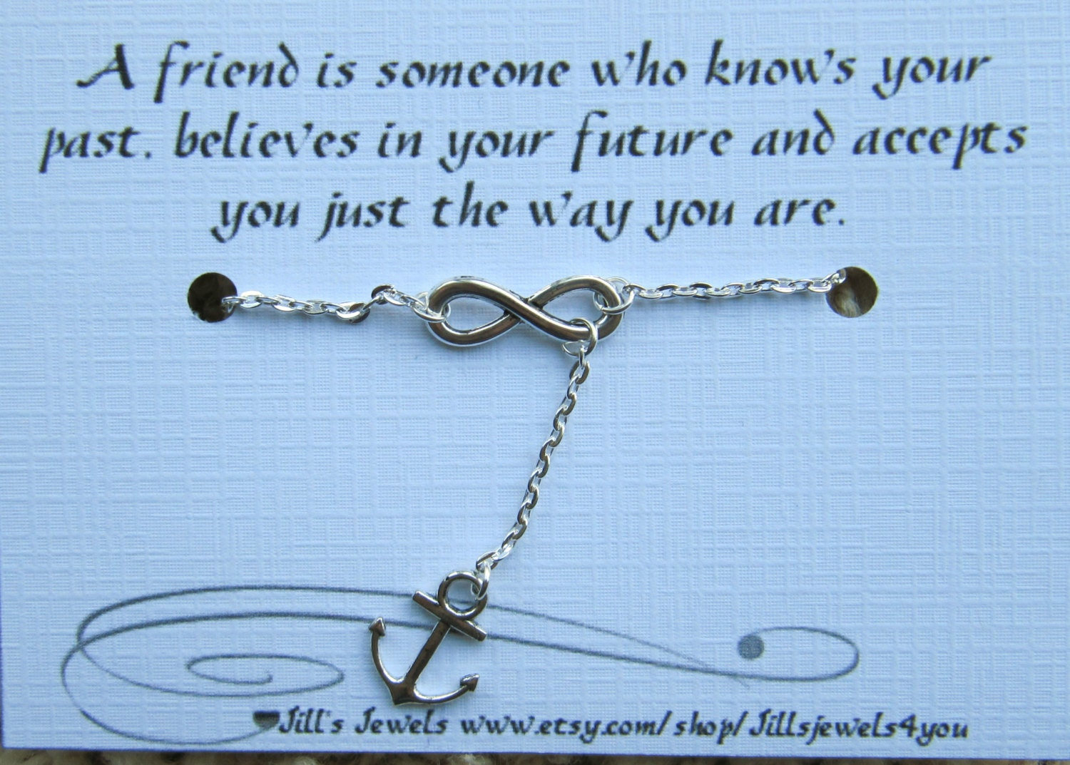 Quotes About Pearls And Friendship Infinity And Anchor Charm Anklet And Quote Inspirational Card