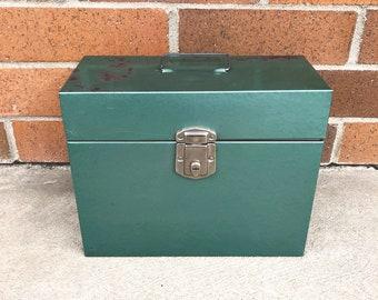 Vintage Green Excelsior Brand File Box Metal File Storage Box Industrial Storage Box